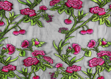 China Tela bordada floral colorida do tule com poliéster no componente de nylon da malha fábrica