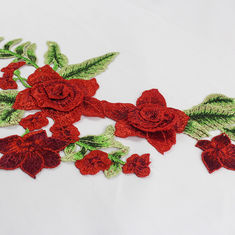 A flor vermelha de 34*18 CM bordou remendos do Applique para o vestido de DIY decorativo