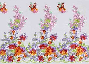 China Multi tela bordada colorida floral bonita do laço do tule para o vestido do vestido nupcial fábrica