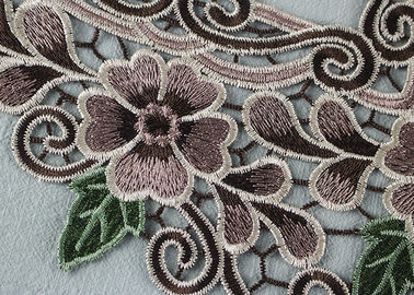 Applique do colar do laço da cor do Applique do laço de Veneza multi com bordado floral para vestidos