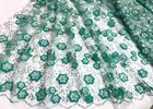 Colored Handmade 3D Flower Lace Fabric , Scalloped Embroidered Mesh Lace Fabric