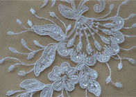 Floral Embroidery Corded Lace Fabric , Bridal Sequin Mesh Fabric With Scalloped Edge