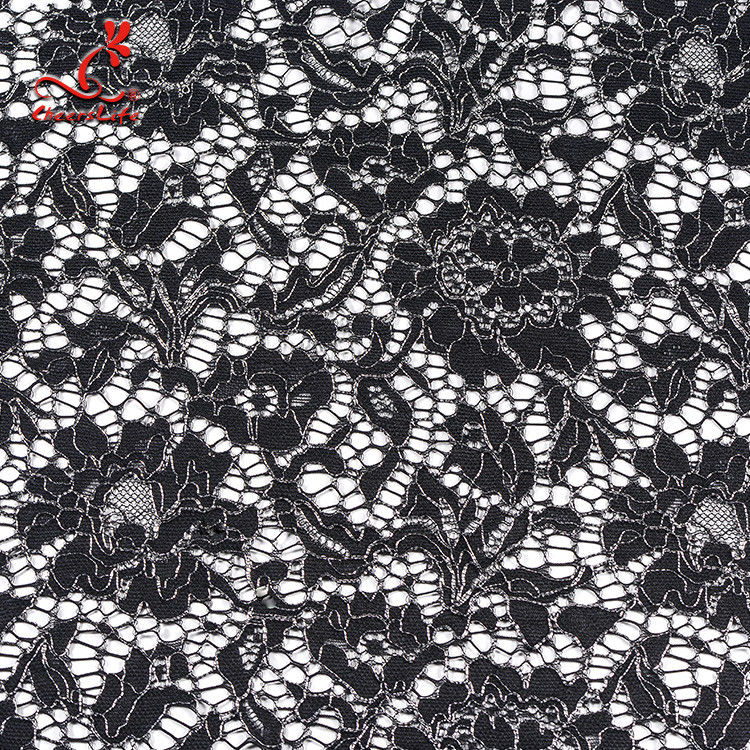 African French Nylon Lace Fabric For Garment Light Color Fastness